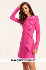 Yeni Fuşya Fırfır Detaylı Elbise TCLAW19BB0379