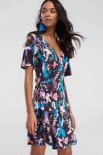 Çok Renkli Kruvaze Yaka Örme Elbise TCLSS18FG0141