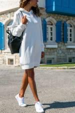 Kadın Ekru Kapüşonlu Oversıze Sweat Elbise ALC-018-109