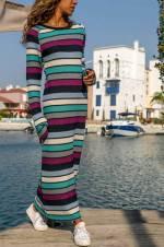 Kadın Multi Çizgili Triko Elbise ALC-018-133