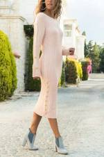 Kadın Somon Kolları Düğmeli Triko Elbise ALC-2408