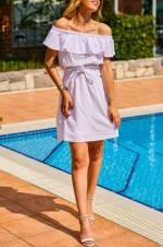 Kadın Ekru Omuz Detaylı Beli Bağcıklı Elbise 8YXK6-31033-52