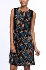 Kadın Mavi Desenli Kolsuz Bel Dikişli Sırt Detaylı Elbise 5KKEL7125X