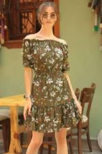 Kadın Haki Etek Ucu Fırfır Kısa Elbise ARM-18Y020008