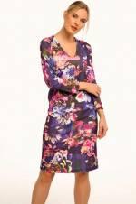 Kadın Lacivert V Yaka Desenli Uzun Kol Elbise ARM-19K001062