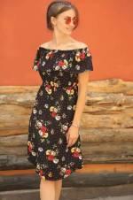 Kadın Siyah Madonna Yaka Noktalı Çiçekli Elbise ARM-18Y013016