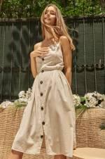 Kadın Bej Düğmeli Askılı Keten Elbise 10904