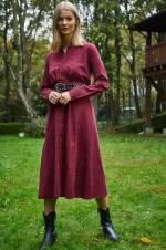 Kadın Bordo Uzun Kollu Maksi Gömlek Elbise 2025