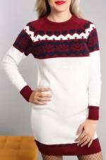 Kadın Beyaz Triko Tunik Elbise 4798BG