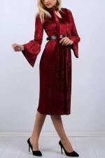 Kadın Bordo V Yaka Pileli Siyah Elbise 10688Bg
