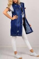 Kadın Koyu Mavi Boyfriend Jean Yelek Elbise 97-5857GB