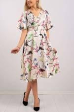 Kadın Kruvaze Yaka Kuş Desen Elbise 8085B