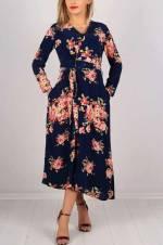 Kadın Lacivert Kruvaze Yaka Çiçek Desenli Elbise 4486