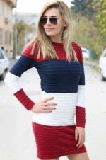 Kadın Lacivert Renk Desenli Triko Triko Tunik Elbise 4717B