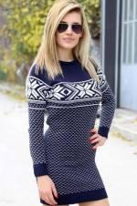 Kadın Lacivert Triko Tunik Elbise 4722BG