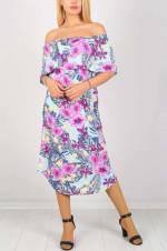 Kadın Mor Desenli Elbise 637