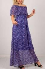 Kadın Mor Kayık Yaka Çiçek Desenli Elbise 6990B