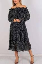 Kadın Siyah Kayık Yaka Desenli Elbise 3807