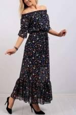 Kadın Siyah Kayık Yaka Çiçek Desenli Elbise 7751B
