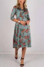 Kadın Yeşil Kruvaze Yaka Yarım Kol Elbise 159-5620BG