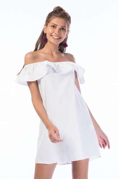 Kadın Beyaz Madonna Yaka Volanlı Elbise