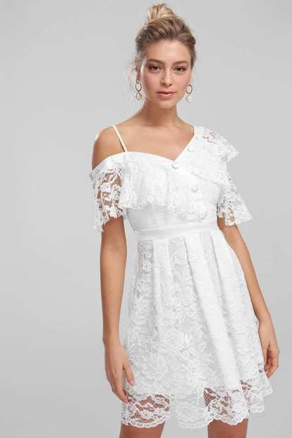 Beyaz Düğme Detaylı Dantel Elbise TPRSS18BE0118